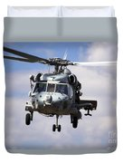Navy Pilots In A Sh-60f Seahawk Conduct Duvet Cover by Michael Wood