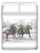Neck And Neck - Horse Race Print Color Tinted Duvet Cover