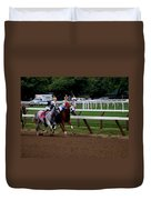 Neck And Neck At Saratoga Two Duvet Cover