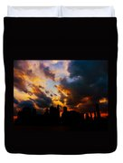 New York City Skyline At Sunset Under Clouds Duvet Cover