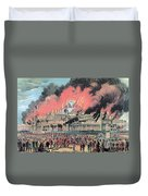 New York Crystal Palace Fire, 1858 Duvet Cover by Photo Researchers