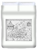 New York Map, 1730 Duvet Cover