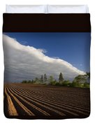 Newly Planted Potato Field And Clouds Duvet Cover