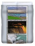 Niagara Falls Usa Triptych Series With Text Duvet Cover