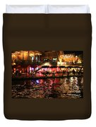 Night Glow On River Walk Duvet Cover