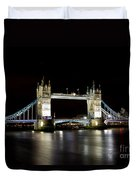 Night Image Of The River Thames And Tower Bridge Duvet Cover