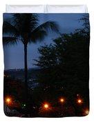 Night Lights On The Mountain Duvet Cover