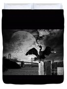 Night Of The Cormorant . Black And White Duvet Cover