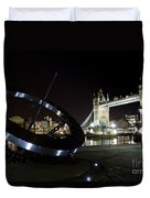 Night View Of The Thames Riverbank Duvet Cover