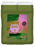 No Parking Sign With Pink Car Duvet Cover