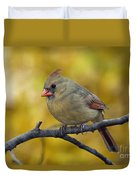 Northern Cardinal Female - D007849-1 Duvet Cover by Daniel Dempster