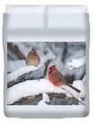 Northern Cardinal Pair 4284 2 Duvet Cover