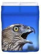 Northern Goshawk With Open Beak Duvet Cover