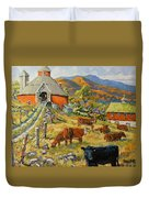 Nostalgia Cows Painting By Prankearts Duvet Cover