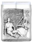 Nude Man With Skeleton Duvet Cover