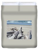 Ocean Beach Driftwood Art Prints Coastal Shore Duvet Cover