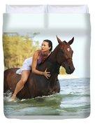 Ocean Horseback Rider Duvet Cover