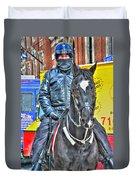 Officer And Black Horse Duvet Cover