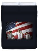 Officers Render Honors During A Change Duvet Cover