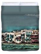 Oill Paint Effect Mykonos Greece Duvet Cover
