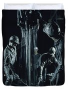 Oilmen Covered In Mud Pull Up A Drill Duvet Cover
