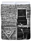 Old Barn Door In Black And White Duvet Cover