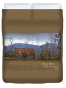 Old Barn In Southern Oregon With Text Duvet Cover