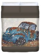 Old Blue Chevy Winter Storm Duvet Cover