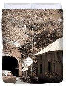 Old Car Older Barn Oldest Bridge Duvet Cover