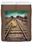 Old Chair On Railroad Tracks Duvet Cover