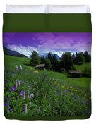 Old Couple By Mountainside Cottages Duvet Cover