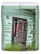 Old Door On Rustic Alaska Cabin Duvet Cover