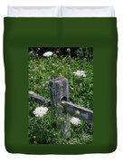 Old Fence And Wildflowers Duvet Cover