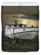 Old Fishing Boat On Shore With Storm Moving In Duvet Cover
