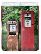 Old Gas Station Pumps Duvet Cover