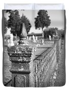 Old Graveyard Fence In Black And White Duvet Cover