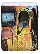 Old Green Truck Door Duvet Cover