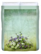 Old Grunge Paper Flowers Pattern Duvet Cover