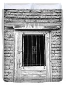 Old Jailhouse Door In Black And White Duvet Cover