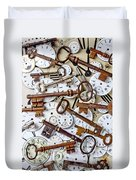 Old Keys And Watch Dails Duvet Cover