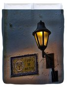 Old Lamp On A Colonial Building In Old Cartagena Colombia Duvet Cover