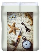 Old Letter With Pen And Starfish Duvet Cover
