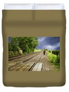 Old Man Walks Along Train Tracks Duvet Cover