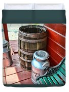 Old Milk Cans And Rain Barrel. Duvet Cover
