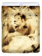 Old Photograph Of A Lion On A Rock Duvet Cover