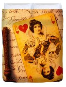 Old Playing Card And Key Duvet Cover