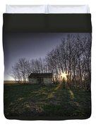 Old Prairie Homestead At Sunset Duvet Cover
