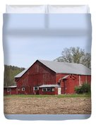 Old Red Barn With Short Silo Duvet Cover