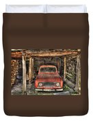 Old Red Car In A Wood Garage Duvet Cover