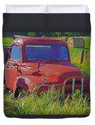 Old Red Truck Duvet Cover